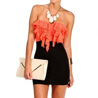CoralBlack Strapless Ruffle Short Dress