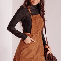 Missguided - Faux Suede Dungaree Dress Tan