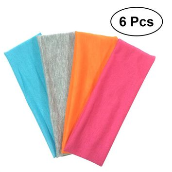 6-Piece Cotton Elastic Stretch Yoga Sport Headbands