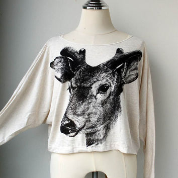 Black Deer Sweet Eye Animal Screenprinted  Pullover Oversize style Shirt Bat Style Half Body In Cream Long Sleeve.