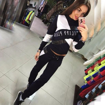 Women 2Pcs Tracksuit Hoodies Crew Neck Sweatshirt Pants Sets Casual Suit