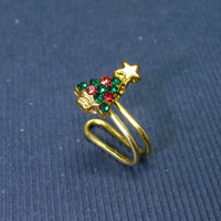 Tiny Christmas tree w/color crystal charm Ear Cuff, Nose cuff, Tragus cuff, charm ear cuff,  Non Pierced Nose Ring, Cartilage, Fake piercing