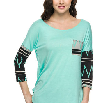 Mint Chevron Top