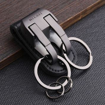 DCCKFV3 Milesi - Brand Men KeyChain Belt Clip Pull Auto Lock Key Chain Double Ring Men Car Key Holder Novelty Trinket Genuine Leather