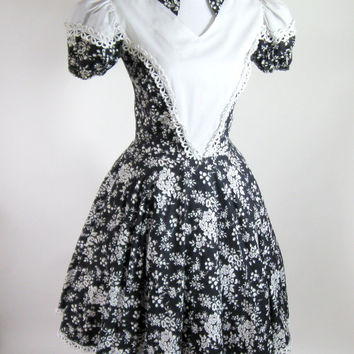 60s Square Dance Dress Navy White Floral Circle Skirt Size Small