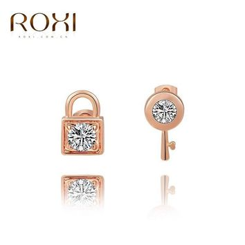 Roxi rose gold lock and key stud earrings