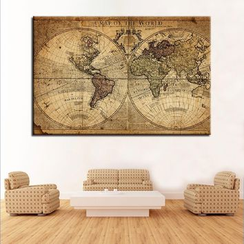 Canvas Paintings Living Room Decor 1 Piece/Pcs Ancient World Map Pictures HD Prints Office Wall Art Vintage Posters Framework