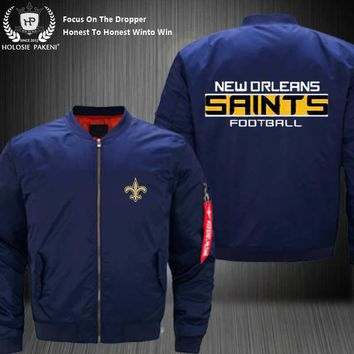 Dropshipping USA Size MA-1 Jacket Football Team New Orleans Saints Flight Jacket Custom Design Printed Bomber Jacket made Men