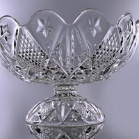 1890 Compote Bowl, Ohio Flint Glass, Pressed Glass, Diamond Pattern