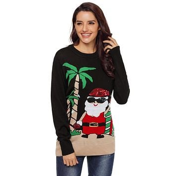 Beach Coconut Tree Santa Sweater