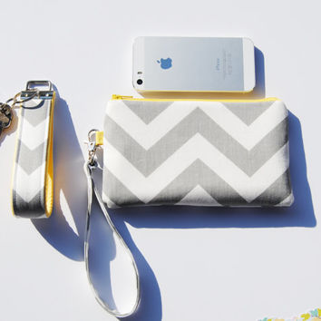 Gray chevron wristlet, bright yellow zipper, clutch, iPhone sleeve, smartphone wallet, camera case