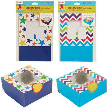 Bakery Box with Sticker and Cupcake Holder (1 count) - Chevron and Stars