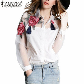 Zanzea Fashion Blusas  Summer Elegant Women Blouse Flower Embroidery Vintage Shirts Organza Sleeve Tops Plus Size S-3XL