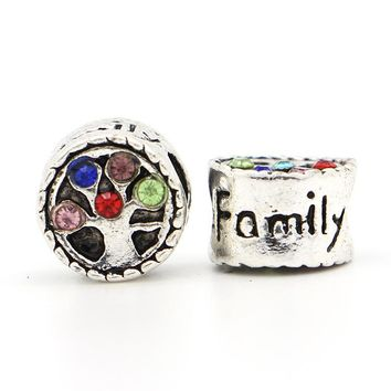 1Pc Free Shipping New Silver Plated Bead European Colorful Crystal Family Tree Love Bead Fit Pandora Bracelet & Necklace