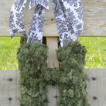Moss Covered Wooden Letter for Front Door or by thewrennsnest