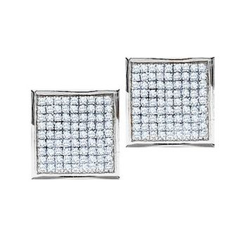 14kt White Gold Womens Round Pave-set Diamond Square Cluster Earrings 3/8 Cttw