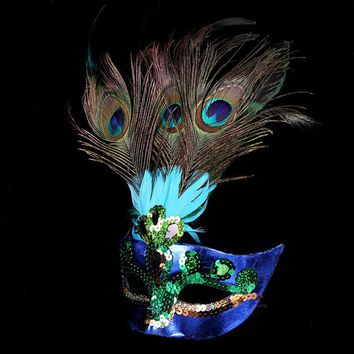 Venetian Mask Masquerade Carnival Masked Ball Fancy Dress Costume Peacock Feathers High Quality For Anonymous Mardi