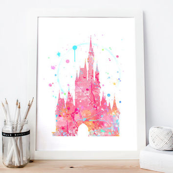Disney Cinderella's Castle Pink - Fairytale Nursery, Watercolor Art Print, Room Decor, Princess Poster, Home Baby Nursery Wall Art