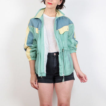 Vintage 80s Windbreaker Pastel Green Pale from ShopTwitchVintage