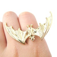 Large Adjustable Bat Shaped Animal Statement Ring in Gold | DOTOLY