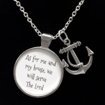 Anchor As For Me And My House, Bible Scripture Christian Necklace