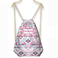 Aztec Geometry Drawstring Bag / Backpack