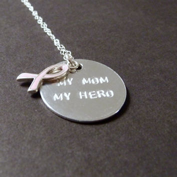 My Mom My Hero Necklace, Breast Cancer Jewelry