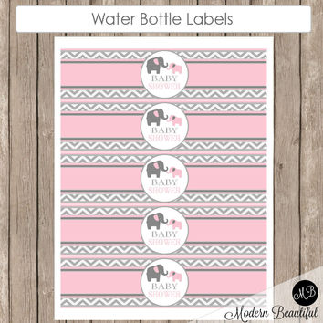 Pink Elephant Water Bottle Baby Shower - Water Bottle Wrap Label - Girl Baby shower Labels pe1  INSTANT DOWNLOAD