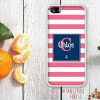 Nautical Navy With Pink Stripes. Customize With Your Name. iPhone 4 // 4s // 5 // 5s // 5c