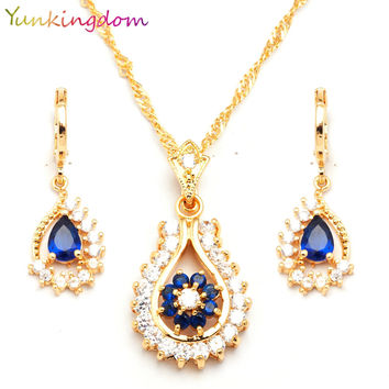 Yunkingdm Trendy Blue Tanzanite  Jewelry Sets For Women Engagement  gold filled necklaces & pendants Earrings BB0150