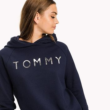 Tommy Hilfiger Silver Logo Women Fashion Pullover Hoodie3