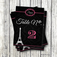 Paris Table Numbers - Paris Party Decor Decorations Printable 1-20 5x7 numbers Eiffel Tower party black pink sweet 16 birthday baby shower
