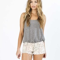 Billabong Women's Lite Hearted-Floral Denim Shorts