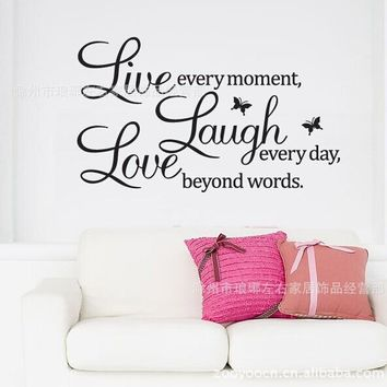 Love Laugh Live Quotes Butterfly Wall Decal