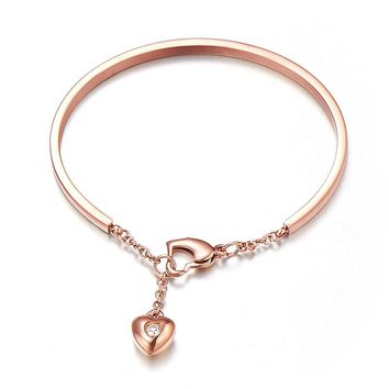 Rose gold color bracelet & bangle for women stainless steel jewelry unique personalized logo diy jewelry heart bangle best gift