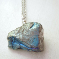 Blue Green Mystic Titanium Quartz Necklace- Natural Quartz Nugget Teal Titanium Pendant Necklace Silver Chain stone no.2