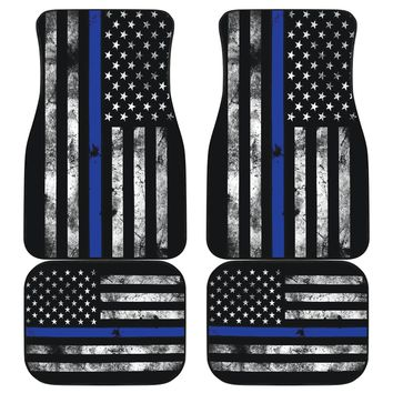 Thin Blue Line Flag American Front and Rear Car Floor Mats Set of 4