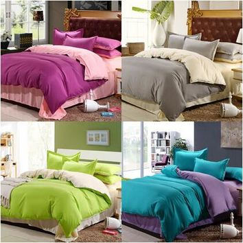 Hot 4Pcs Cotton Bedding-set Solid Hotel Bedding Sets Bed sheets Pillow Duvet Cover King Size Bedclothes Bedspread No Comforter