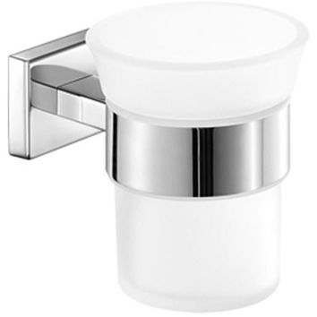 SCBA Aegean Wall Frosted Glass Toothbrush Toothpaste Holder Bath Tumbler - Brass
