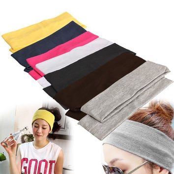 Elastic Headband 2PCS Sports Yoga Hair Bands Dance Biker Wide Headband Stretch Ribbon Cotton Hairband EA14