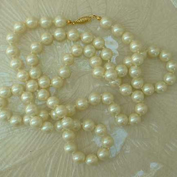 Heavy Glass Pearl Necklace 36 inches long Wedding Jewelry