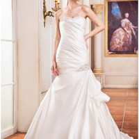 Trumpet/Mermaid Sweetheart Court Train Satin Wedding Dress With Ruffle Lace Beading Sequins - MADE TO ORDER - Brides & Bridesmaids - Wedding, Bridal, Prom, Formal Gown