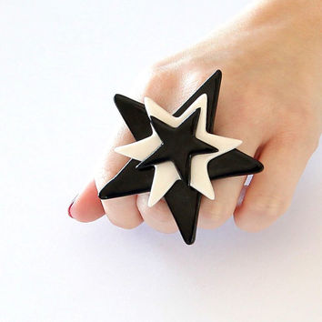 Star Statement Ring Ceramic  - big ring, oversize ring, fashion ring, handmade Cocktail Ring - SUPER STAR - 2.7 inch