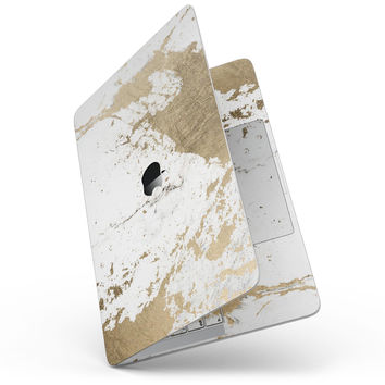 """Gold Foiled Marble v1 - 13"""" MacBook Pro without Touch Bar Skin Kit"""