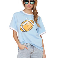 Ligh Blue Football Print Short Sleeves T-Shirt with White Trim
