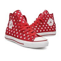 New Red Patriotic Stars 4TH OF JULY All★Star Hi-Top Shoes Sneakers SIZE 7 7.5