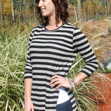 Side Slit Tunic - Black/Grey