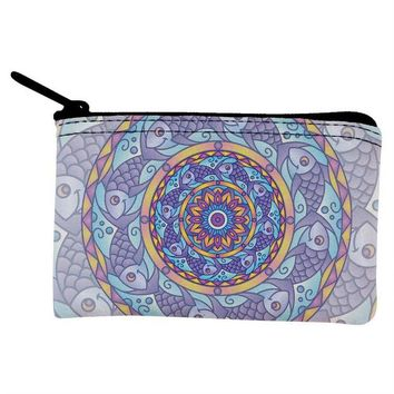 DCCKJY1 Mandala Trippy Stained Glass Fish Coin Purse