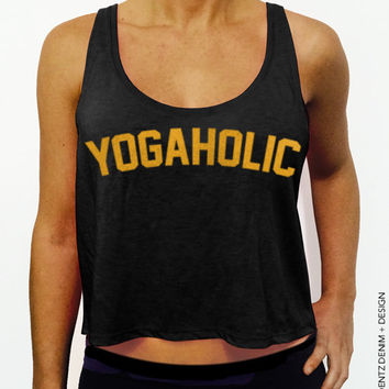 Yogaholic - Black with Gold Crop Tank Top