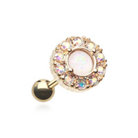 Golden Opal Elegance Cartilage Tragus Helix Earring 18ga Body Jewelry